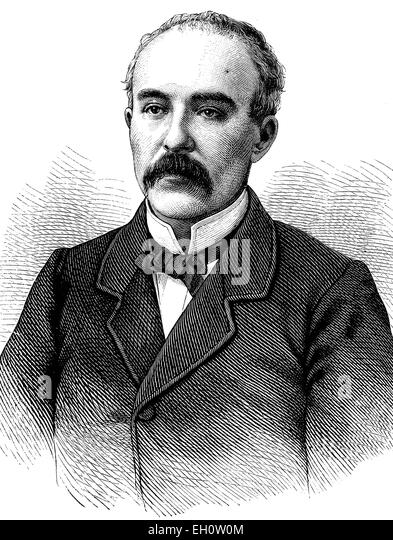 Georges Clemenceau, 1841-1929, French statesman, historical illustration, circa 1886 - Stock Image
