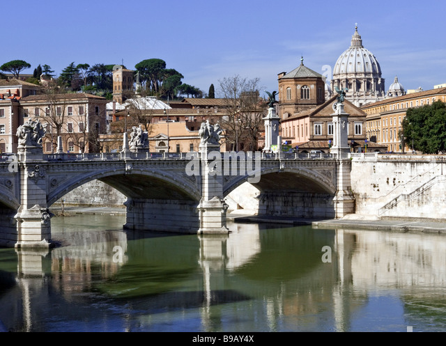 Vatican seen from the River Tiber across Ponte Sant'Angelo - Stock Image