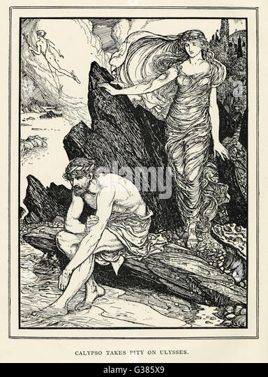 Calypso takes pity on  homesick Odysseus and agrees  to allow him to return to his  wife, Penelope. - Stock Image