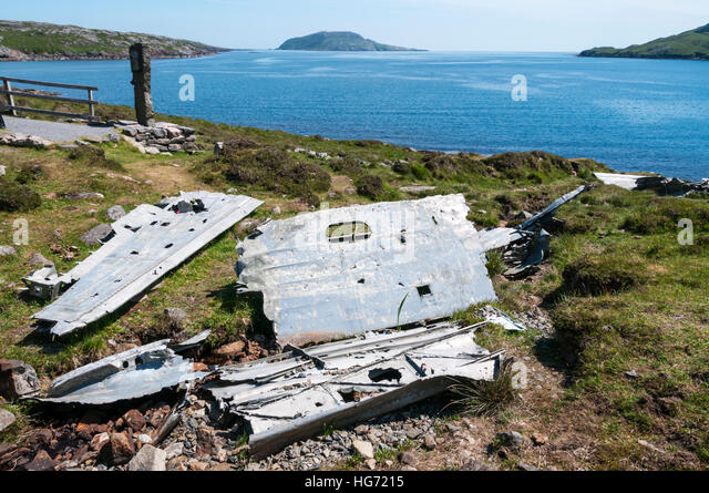 The wreckage of a Catalina Flying Boat that crashed on the island of Vatersay during WWII in 1944. - Stock Image