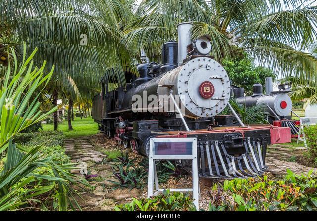 Historical steam locomotives exhibit and nostalgic railway on the area the sugar museum Marcelo Salado, Caibarién, - Stock-Bilder