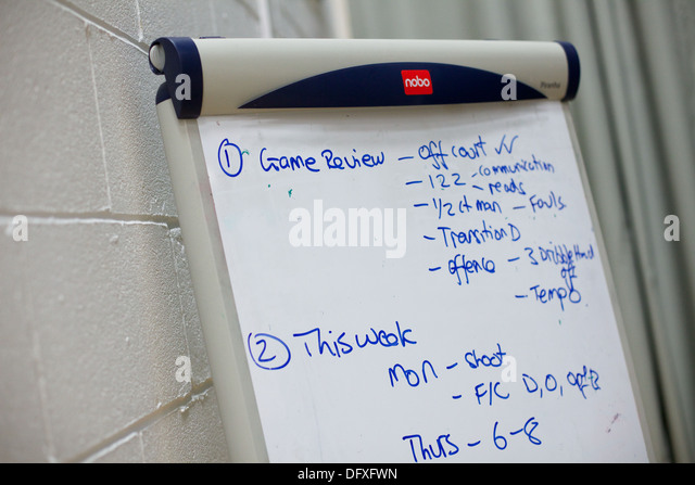white board in sports hall - Stock Image