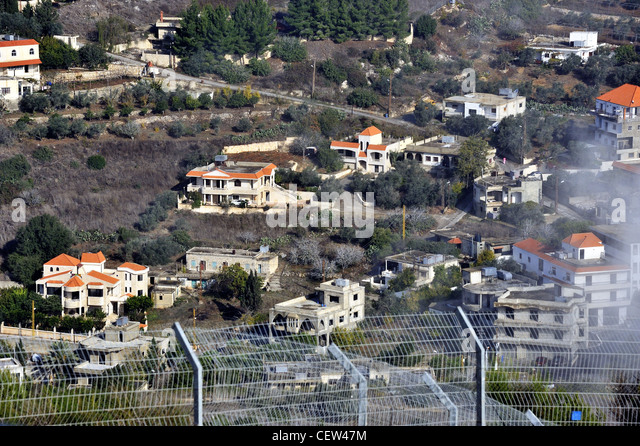 Upper Galilee, a view of the Lebanon from kibbutz Misgav Am Israel - Stock Image