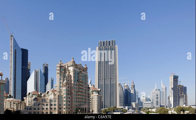 Skyline of Downtown Dubai, The Index Tower, 330m, 80 storeys, United Arab Emirates, Middle East - Stock Image