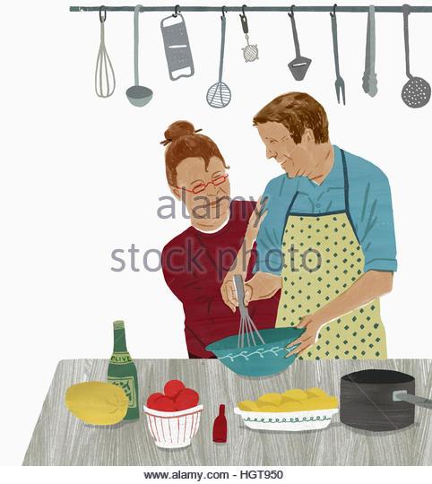 Older couple enjoying cooking together - Stock-Bilder