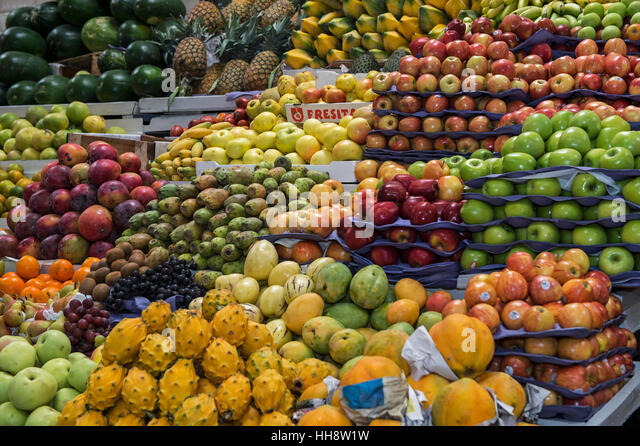 Stall with exotic fruit, food market, Quito, Ecuador - Stock Image