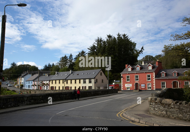 bridge over the river lennon route north ramelton county donegal republic of ireland - Stock Image