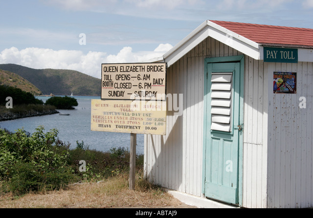 BVI Tortola Queen Elizabeth Bridge toll house to Beef Island - Stock Image