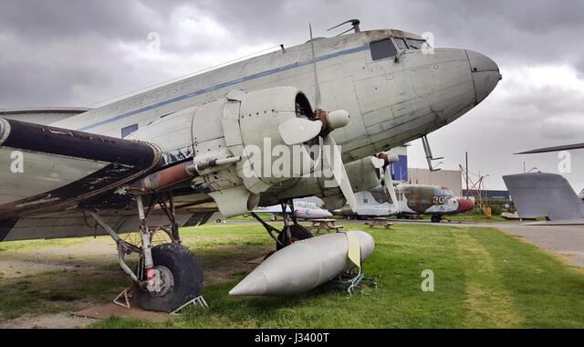 Douglas DC-3 C-47 Dakota exhibited by the association of the Ailes Anciennes de Toulouse in Blagnac, France. - Stock Image