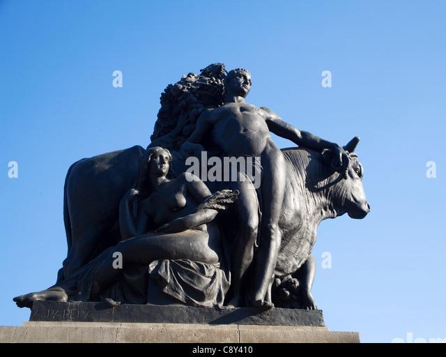 Barcelona - bronze statue - mythology - Stock Image