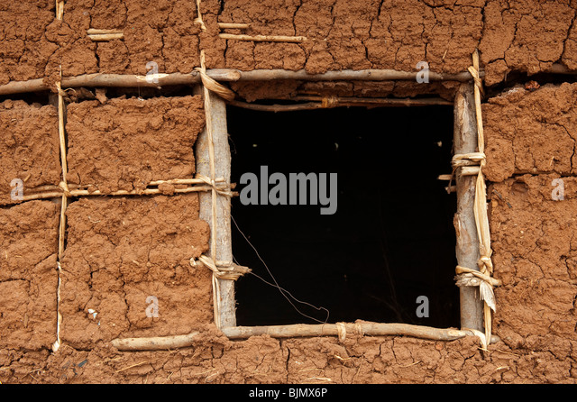 Detail of wall on a house built from mud and sticks rwanda stock