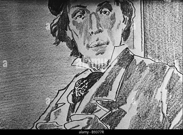 Artist Gennady Yepishin s illustration for Konstantin Paustovsky s short story Night Stage Coach - Stock Image