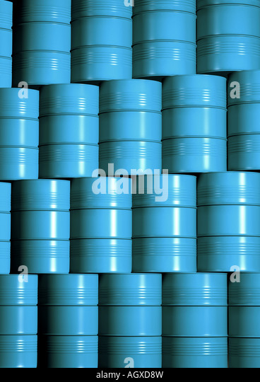 drum storage gestapelte Faesser Chemielager - Stock-Bilder