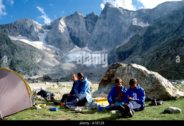 Camped below the North face of Vignemale, Pyrenees, France - Stock Image