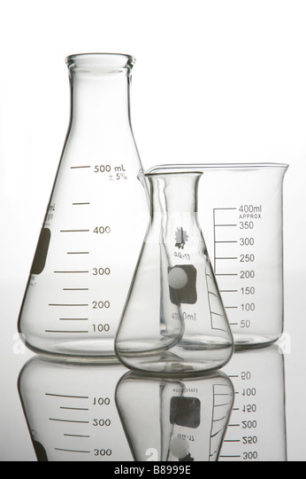 Glass beaker and Flask science lab - Stock Image
