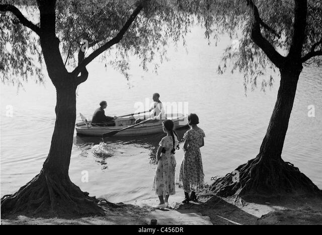 Rowing on the lake, 1934 - Stock Image