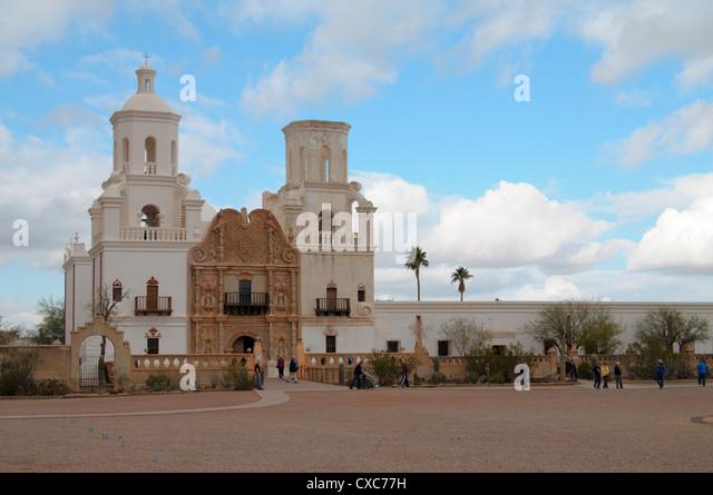 San Xavier Mission, Arizona, United States of America, North America - Stock Image