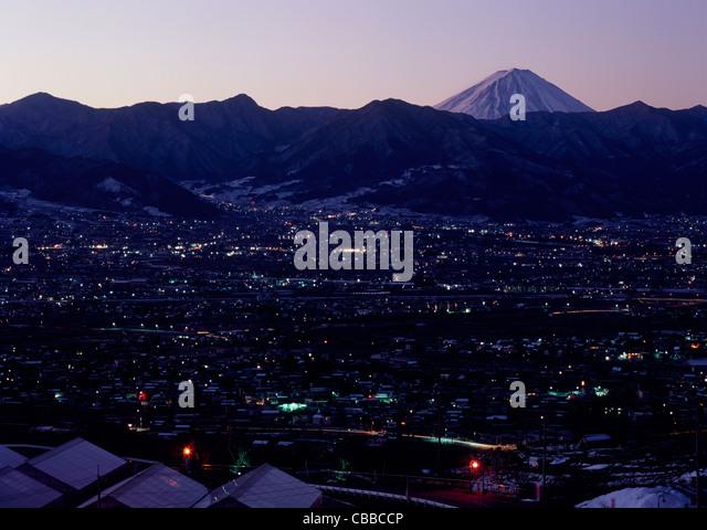 Night View of Yamanashi City and Mount Fuji, Yamanashi, Yamanashi, Japan - Stock Image