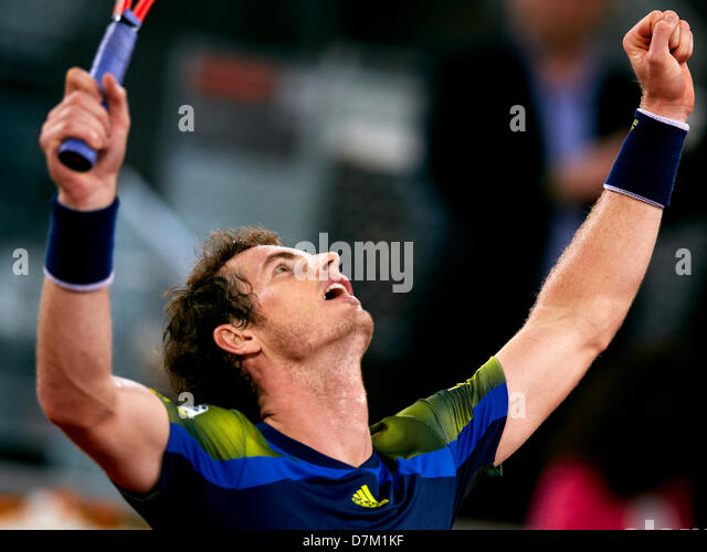 09.05.2013 Madrid, Spain. Andy Murray of Great Britain celebrates  after his vicotry over Giles Simon of France - Stock Image
