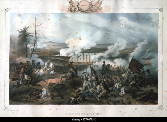 Battle of Marengo, 14 June 1800. French forces under Napoleon defeated Austrians. The French General Louis Desaix - Stock Image