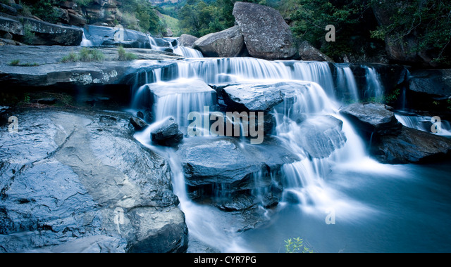 Cascading waterfall with motion blurred water movement - Stock Image