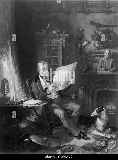 Sir Walter Scott (1771-1832), Scottish writer in his study at Abbotsford, surrounded by historical weapons, portraits, - Stock Image
