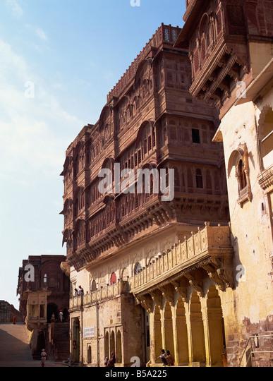 Screened ladies quarters above courtyard Meherangarh Fort Jodhpur Rajasthan state India Asia - Stock Image