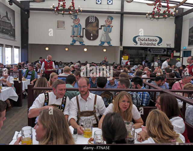 Inside The Ammer Bier Tent,Munich Oktoberfest,Bavaria,Germany - Stock Image