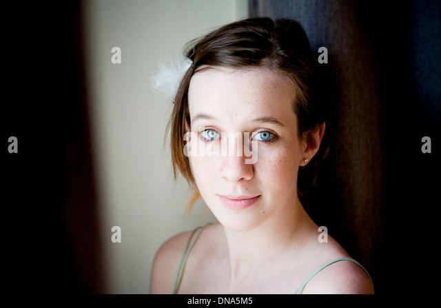 youth, girl, young, innocent, blue eyes, open, hopeful - Stock Image