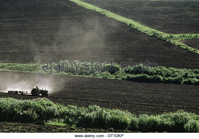 Kenya Tractors tilling soil farm recently cleared Kenya - Stock Image