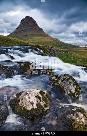 Iceland Landscape.  Image of Kirkjufell mountain on Snaefellsnes Peninsula, Iceland. - Stock Image