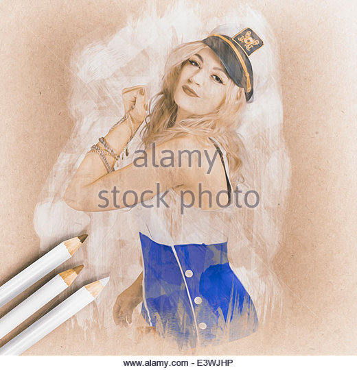 Creative water colour illustration of a strong nautical sailor pin-up girl flexing her bicep muscles wearing jewlery - Stock Image