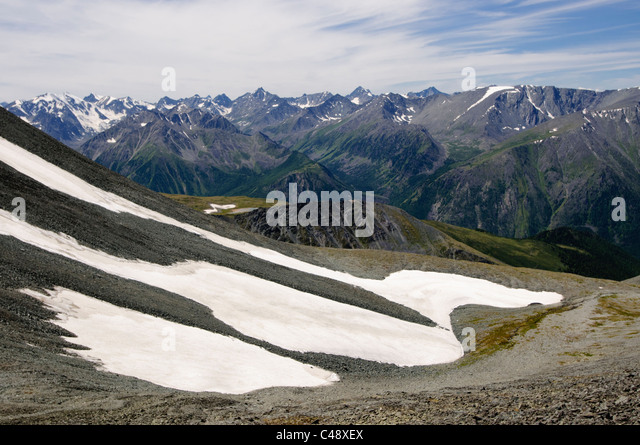 Looking west into Katunsky National Park from Mt. Belukha Park, Altai Republic, Siberia, Russia - Stock-Bilder