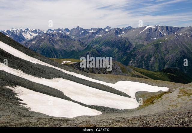 Looking west into Katunsky National Park from Mt. Belukha Park, Altai Republic, Siberia, Russia - Stock-Bilder