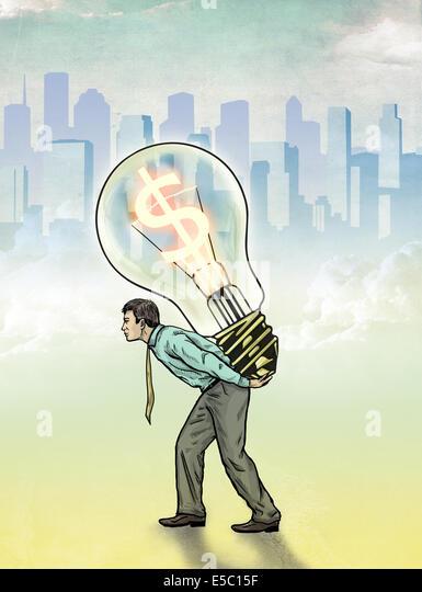 Illustrative image of businessman carrying light bulb with dollar symbol representing profit - Stock Image