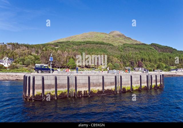 The pier at the village of Inverie in Inverie Bay Loch Nevis on Knoydart the West Highlands of Scotland - Stock-Bilder