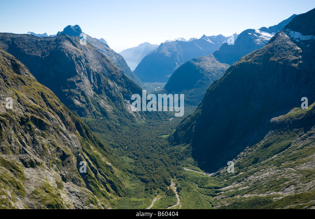 Milford Sound from the Gertrude Saddle, Fjordland, South Island, New Zealand - Stock Image