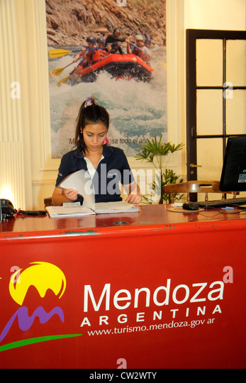 Argentina Mendoza Avenida San Martin tourism office visitor center centre brochure information local attractions - Stock Image