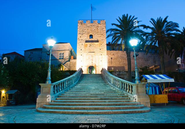 Valeki Revelin, the entrance to the Historic Town of Korcula, Korcula Island, Dalmatian Coast, Croatia - Stock Image
