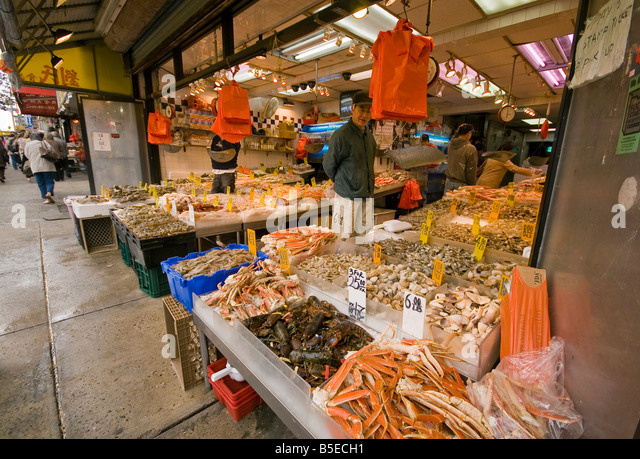 Shop in chinatown in new stock photos shop in chinatown for Fishing store nyc