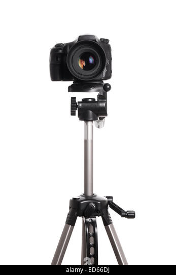 DSLR camera on tripod - Stock Image