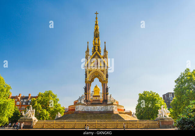 Victorian architecture London, detail of the rear of the Albert Memorial sited next to the Royal Albert Hall in - Stock Image