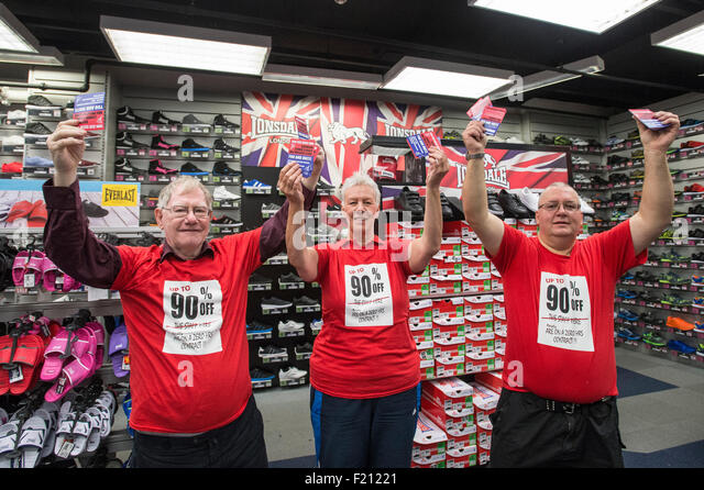 Shirebrooke, UK. 09th Sep, 2015. L-R Keith Venables, Cheryl Pidgeon and Jim Griffiths, inside the Sports Direct - Stock Image