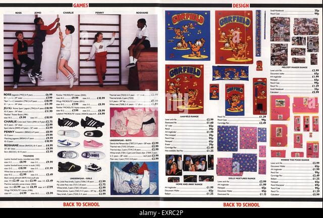 1980s UK School Uniforms Catalogue Plate - Stock Image