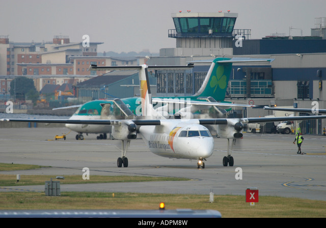 Flybe regional turboprop airliner at London City Airport England UK - Stock Image