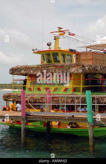 Bahamas Tiki Island party boat New Providence - Stock Image