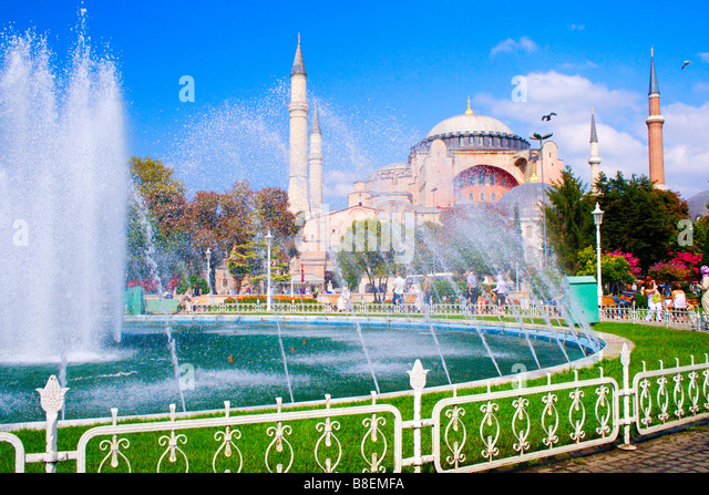 Touristic scenery Exterior view of Hagia Sophia Mosque Istanbul - Stock Image