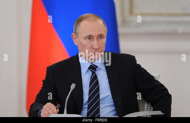 Russian President Vladimir Putin during a meeting of the Victory Organizing Committee at the Kremlin April 5, 2016 - Stock Image