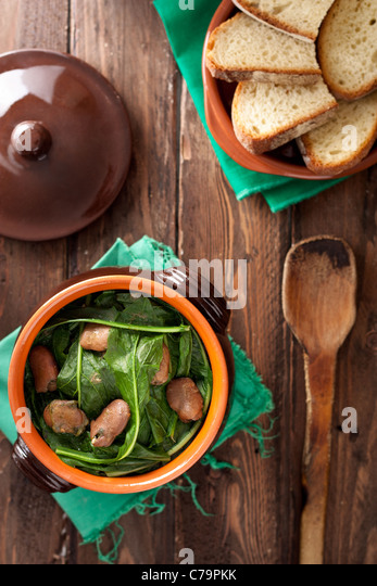 Chicory with Broad Beans: a Traditional Dish from Apulia, Italy - Stock Image