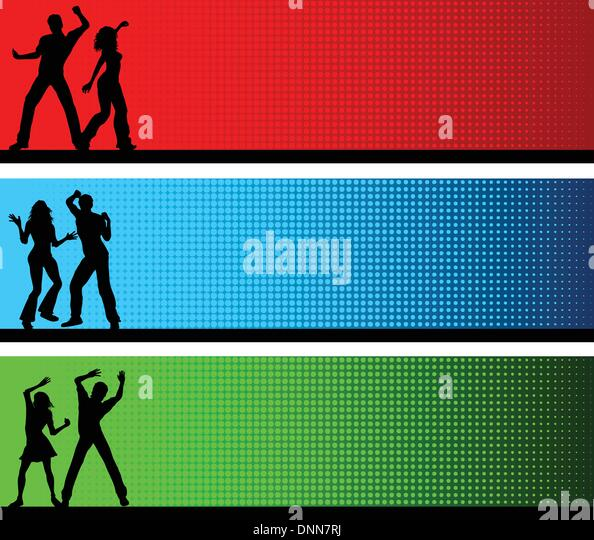 Silhouettes of people dancing on brightly coloured backgrounds - Stock-Bilder